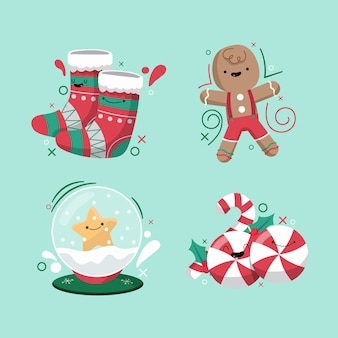 Collecton of christmas element in flat design