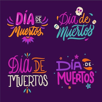 Collecton of dia de muertos badge in flat design