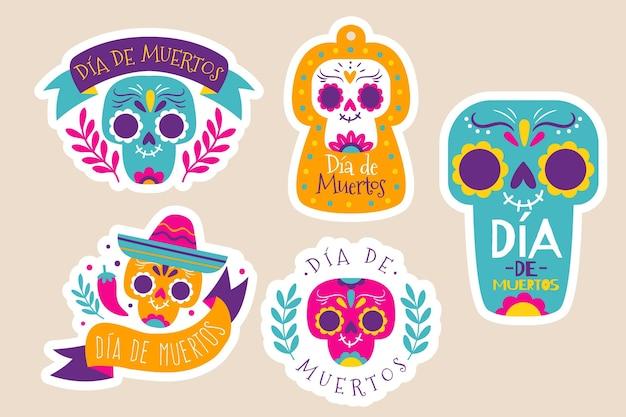 Collecton of dia de muertos badge in flat design