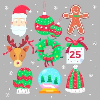 Коллекция рождественских элементов в плоском дизайне