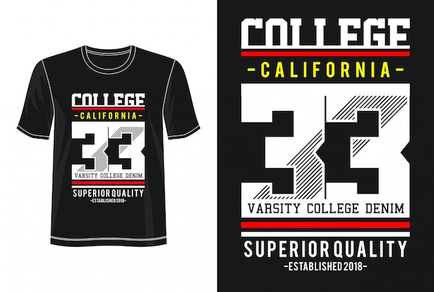 College 33 typography for print t shirt