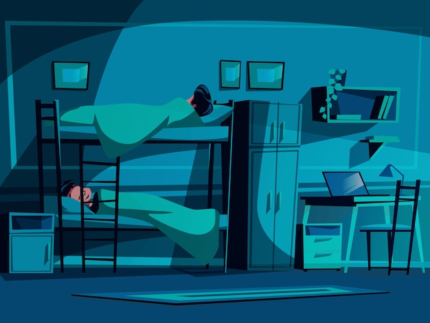 College dormitory illustration of classmates sleeping on bunk bed at night.
