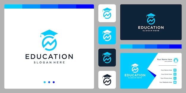 Колледж, выпускник, кампус, дизайн логотипа образования. и логотип аналитики. визитная карточка