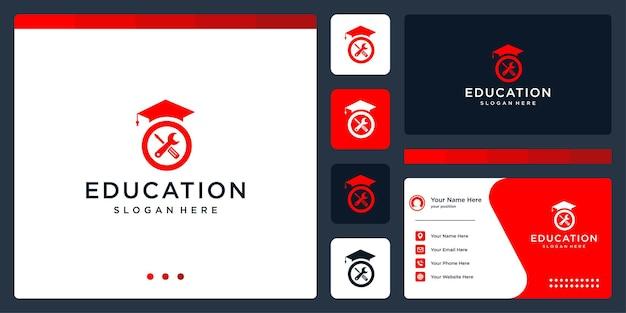 Колледж, выпускник, кампус, дизайн логотипа образования. и логотипы оборудования. визитная карточка