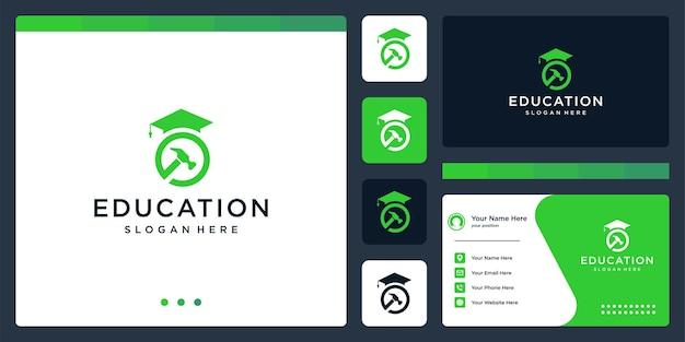 Колледж, выпускник, кампус, дизайн логотипа образования. и молоток логотип. визитная карточка