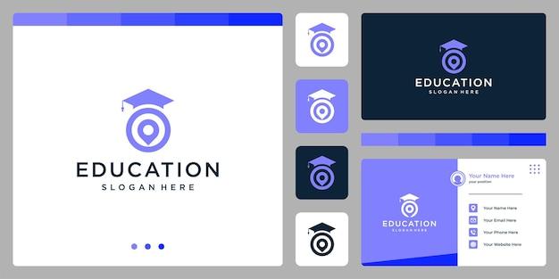 大学、大学院、キャンパス、教育のロゴデザイン。と場所のロゴ。名刺