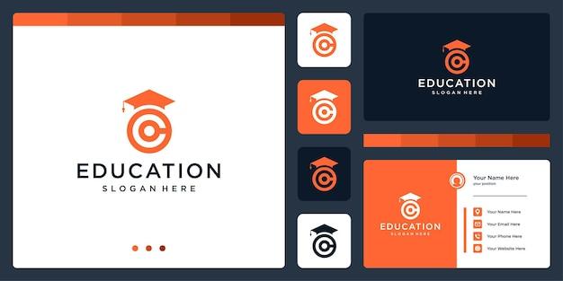 Колледж, выпускник, кампус, дизайн логотипа образования. и буквица с логотипом c. визитная карточка