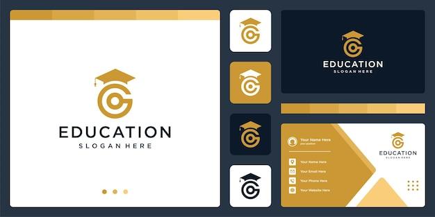 Колледж, выпускник, кампус, дизайн логотипа образования. и логотип буквица g. визитная карточка