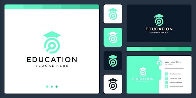 Колледж, выпускник, кампус, дизайн логотипа образования. и логотип с увеличительным стеклом. визитная карточка