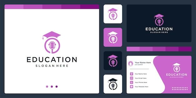 Колледж, выпускник, кампус, дизайн логотипа образования. и логотип микрофона. визитная карточка
