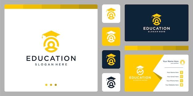 Колледж, выпускник, кампус, дизайн логотипа образования. и логотипы людей. визитная карточка