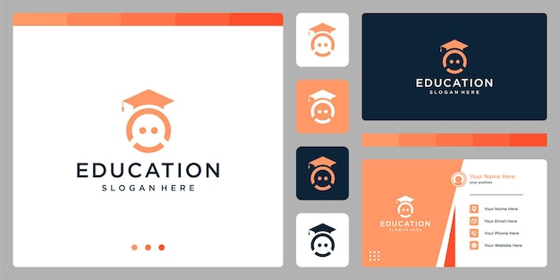 Колледж, выпускник, кампус, дизайн логотипа образования. и улыбайтесь логотипами. визитная карточка
