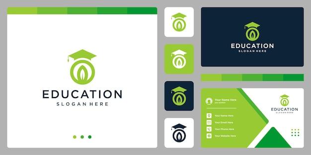 Колледж, выпускник, кампус, дизайн логотипа образования. и логотип в виде листа. визитная карточка