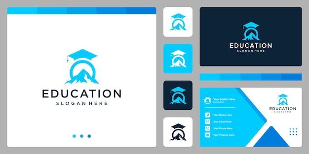 Колледж, выпускник, кампус, дизайн логотипа образования. и логотип горы. визитная карточка