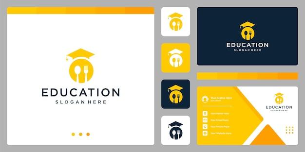 Колледж, выпускник, кампус, дизайн логотипа образования. и ложка, вилка с логотипом. визитная карточка