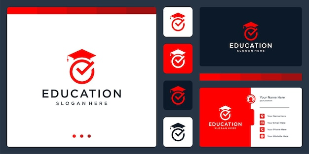 College, graduate, campus, education logo design. and check mark logo. business card