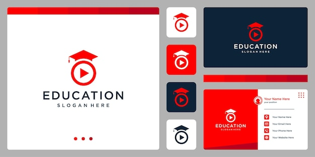 College, graduate, campus, education logo design. and play button logo, video. business card
