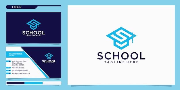 Коллекция комбинаций логотипов шляпы колледжа, выпускной колпак. дизайн логотипа и визитная карточка