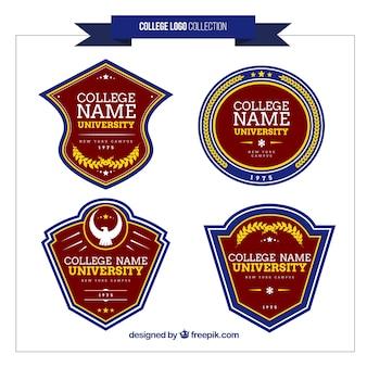 College logos set Premium Vector