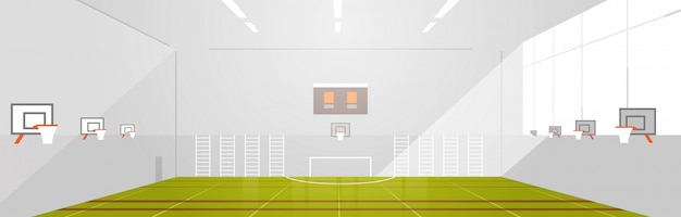 大学や学校のジムは空の人々ない近代的なスポーツホール複雑なインテリアフラット水平