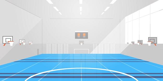 대학 또는 학교 체육관 빈 사람 없음 현대 스포츠 홀 복잡 한 인테리어 평면 수평