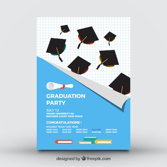 College party brochure with mortarboards