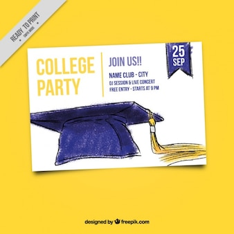 College party invitation with hand painted mortarboard