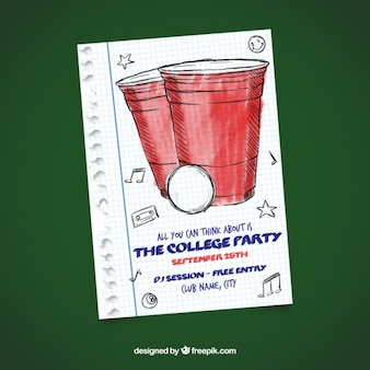 College party poster of hand drawn glasses