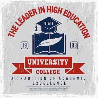 College poster. university identity placard school vector picture with place for text