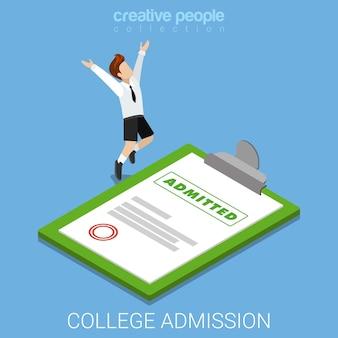Certificato di decisione della lettera di ammissione alla scuola universitaria invitare isometrico piatto
