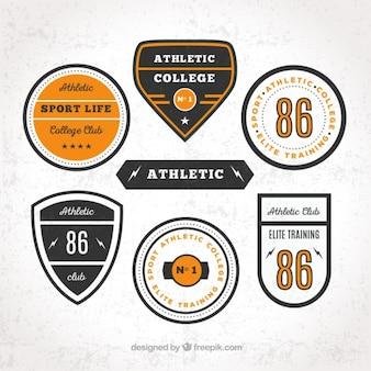 Universitari loghi sportivi in stile retrò