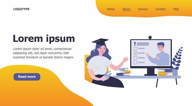 Студент колледжа смотрит онлайн-иллюстрацию вебинара