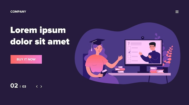 Студент колледжа смотрит онлайн-вебинар, сдает тест, использует компьютер, посещает занятия. иллюстрация для дистанционного обучения, домашнего обучения, обучения в условиях изоляции, концепции видеоконференции
