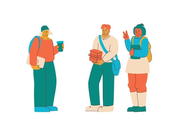 大学生、教科書を持っている多民族の若者。