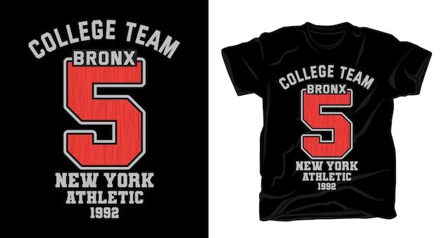 대학 팀 5 타이포그래피 티셔츠 디자인