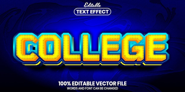 College text, font style editable text effect