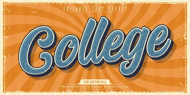 College text, old style editable text effect
