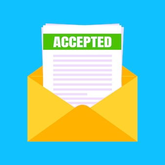 College or university acceptance letter with envelope and paper sheets document email