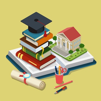 College university education graduation isometric concept graduate cap lies on top stack heap of books