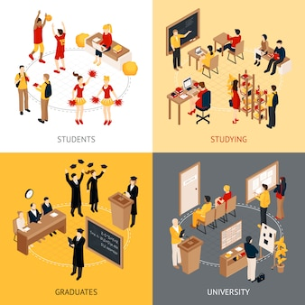 College and university isometric character set