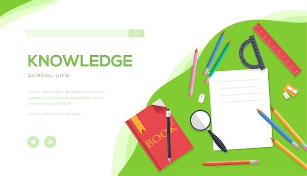 Колледж, университетская жизнь, образование, снова в школу концепции. письменный стол офисного работника, студента, ученика.