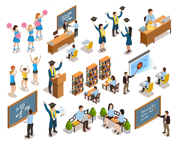 College university people isometric icons collection