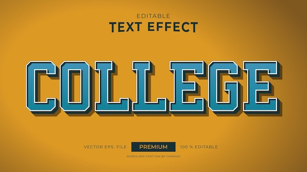 College vintage style editable text effects