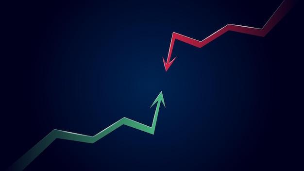 濃い青の背景に緑の上向き矢印と赤の下向き矢印のある弱気トレンドに対する強気トレンドの衝突。ベクトルイラスト。