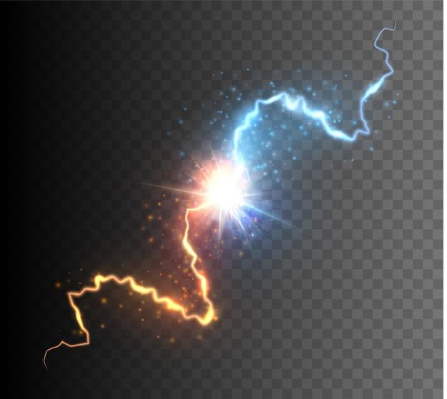 輝く火花と2つの力の衝突。エネルギーの爆発。対概念