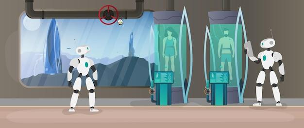 惑星の植民地化。ロボットは人間の状態をチェックします。極低温カプセルを備えた未来の実験室。人間または宇宙飛行士の極低温チャンバーのためのcryonテクノロジー。ベクター。