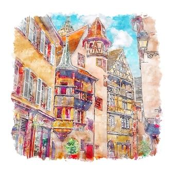 Кольмар эльзас франция акварельный эскиз рисованной иллюстрации