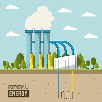 숲과 coloful 배경 지열 에너지 생산 공장