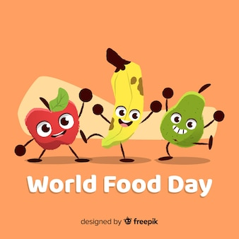 Coloful手描きの世界の食べ物の日