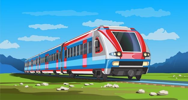 Coloful страница с 3d моделью современного скоростного поезда и ярким пейзажем. красивая иллюстрация с поездкой на поезде. графический рисунок поезда.